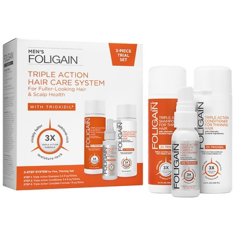 Foligain 3-Piece Trial- Men's Triple Action Complete System For Thinning Hair 1.0 ea